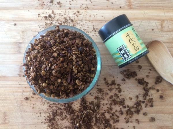 granola de té matcha