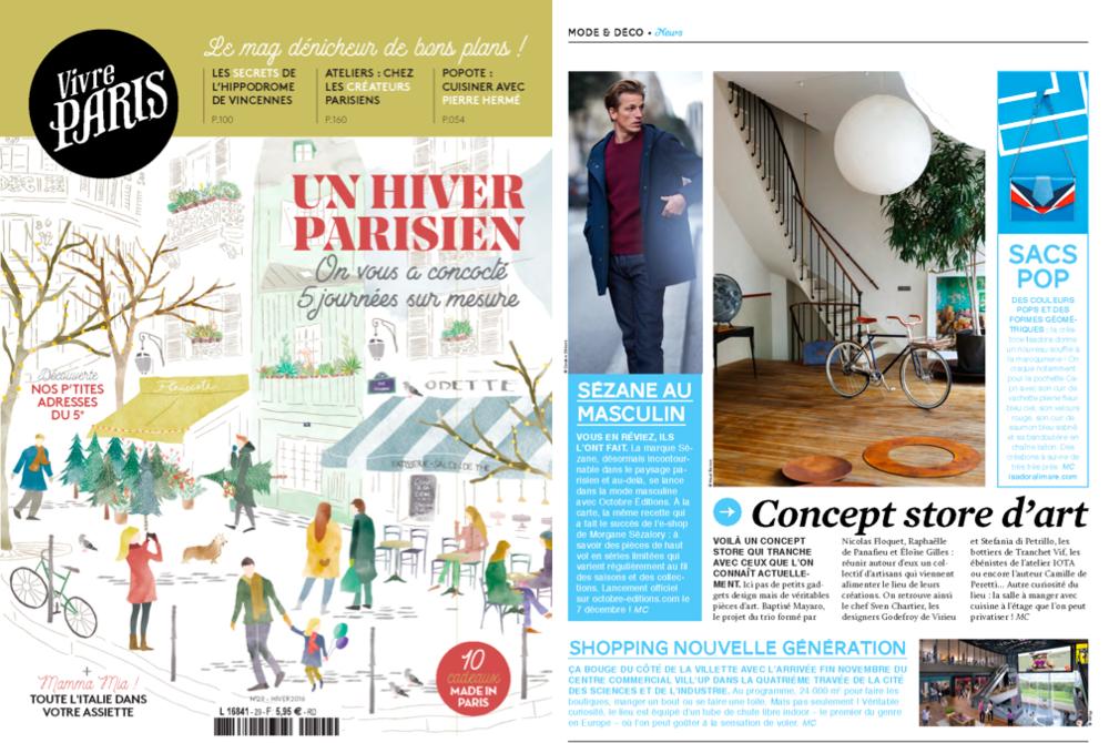PARUTION VIVRE PARIS DECEMBRE 2016