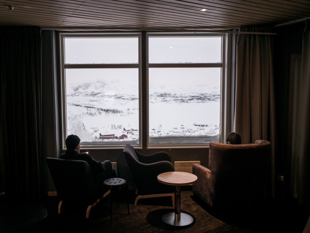 Riksgränsen, Sweden. February 2nd, 2016. There is a lull in activity between lunch and dinner; often boredom can set in during the days.