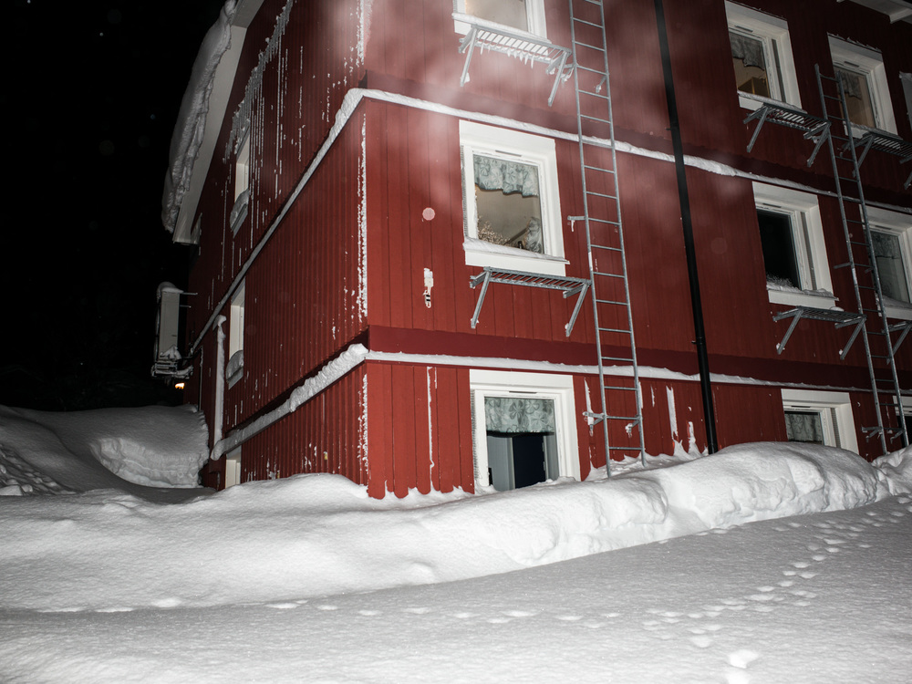 Riksgränsen, Sweden. February 2nd, 2016. One of the resort's buildings, temperatures are unseasonably warm and the snow level lower than usual.