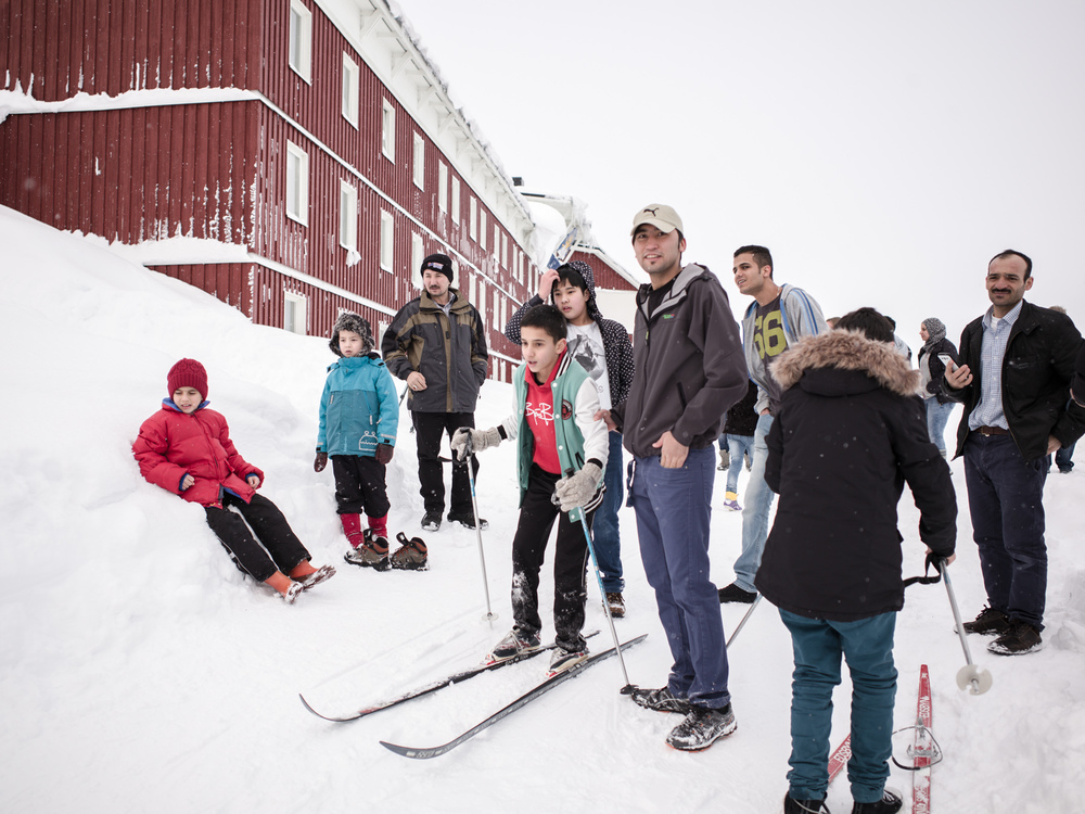 Riksgränsen, Sweden. February 3rd, 2016. Riksgränsen's temporary inhabitants test their skiing skills on a makeshift ski slope behind the resort.