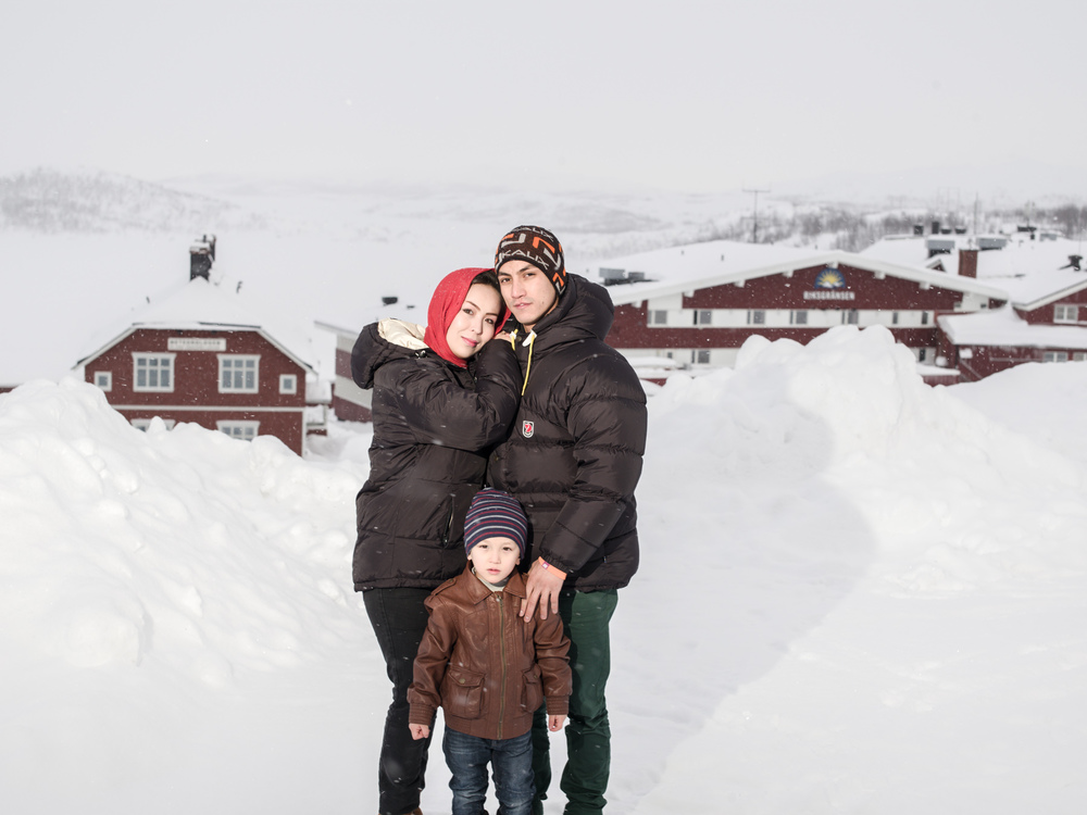 Riksgränsen, Sweden. February 3rd, 2016. Zakera (left), Mahdi (right) and Taha (front). Arrived in Sweden four months ago after a treacherous journey from their home in Afghanistan.