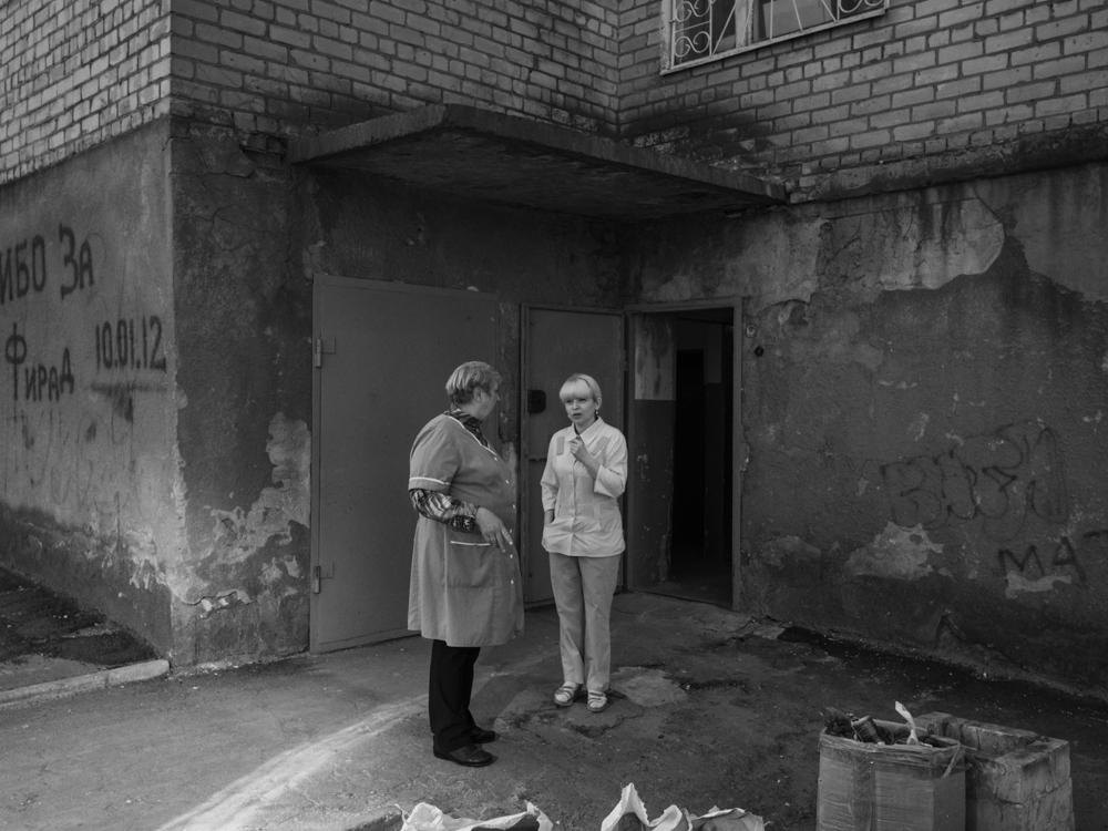 Nurses on a break. Kramatorsk, Ukraine. April 8th, 2016.