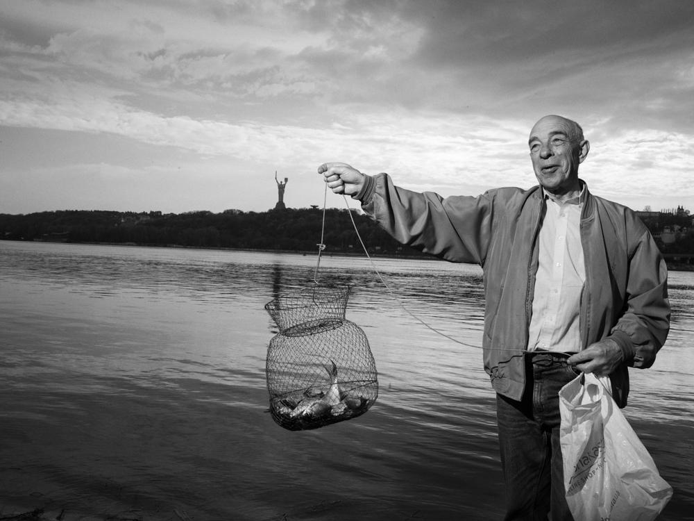Fishing by the Dnieper. Kyiv, Ukraine. April 13th, 2016.