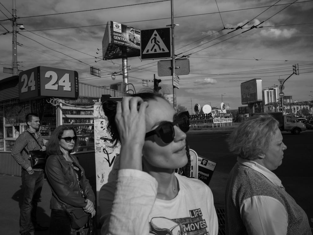 Natasha at a pedestrian crossing near the 'sleeping area'. Kyiv, Ukraine. April 17th, 2016.