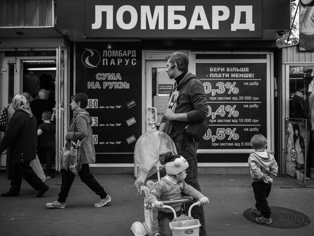 Street scene near the 'sleeping area'. Kyiv, Ukraine. April 17th, 2016.