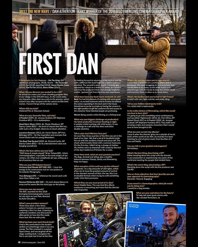 Thank you to @britishcinematographer for interviewing me in the 'Meet the New Wave' section of their latest British Cinematographer magazine issue. If you can't quite read the article on here due to instagram's compression drop me a message and I'll send you it. (If you don't get the article title it's in reference to me being a black belt in tae-kwon-do 🥋 ...and my name.) #britishcinematographer #bsc #cinematography #cinematographer #directorofphotography #dop  @visionatwizzo  @nftscinematography