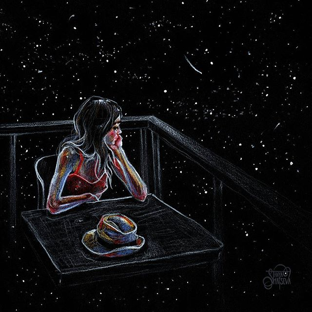 Wait for a Star 🌟 Colored pencils on black paper. Print available 🖤 (link in bio) #crystalcuddlesart by @tanyashatseva