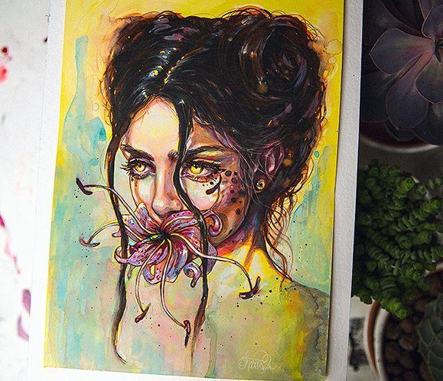 'Wildflower'🌺🐆 ..wild wild fire glowing in cheetah-girl's eyes 🔥 • Prints available   link in bio! Original is sent to patron 🖤 • #crystalcuddlesart by @tanyashatseva