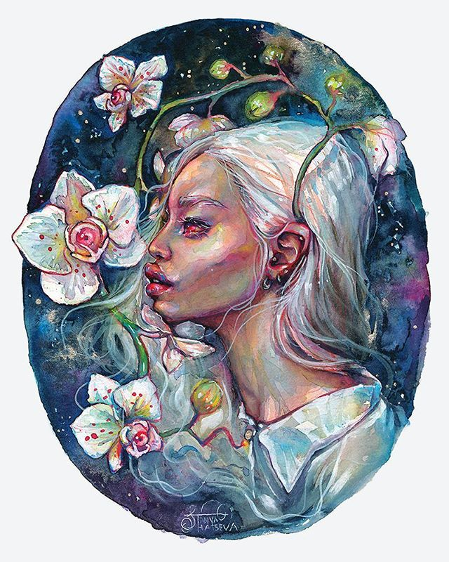 Albina 🍒🌸 Inspired by rare beauty of black albinos 💙 Gouache and ink on paper. Prints    link in bio! • #crystalcuddlesart by @tanyashatseva