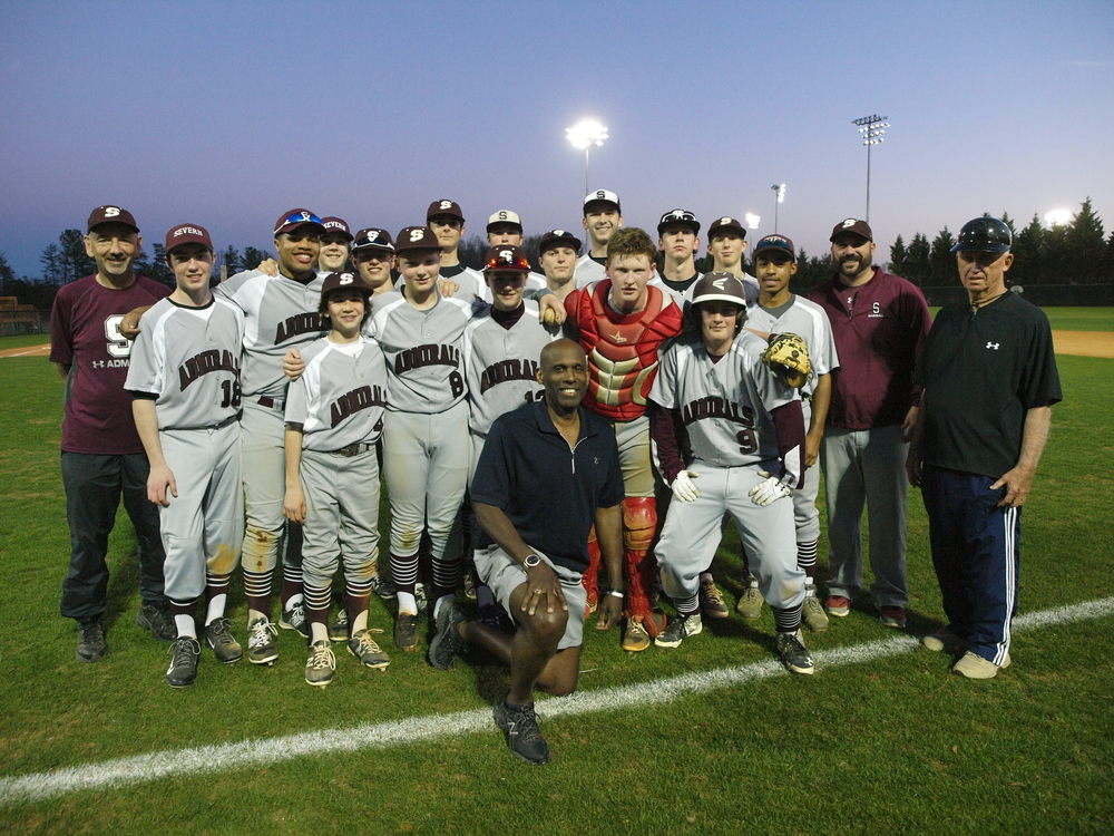 Carl with Coach Hall Sparks Severn High Baseball Team