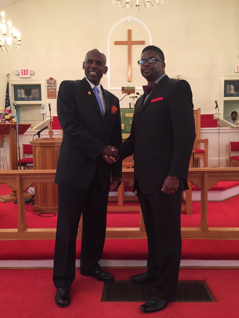 Carl with Pastor Evans after speaking engagement