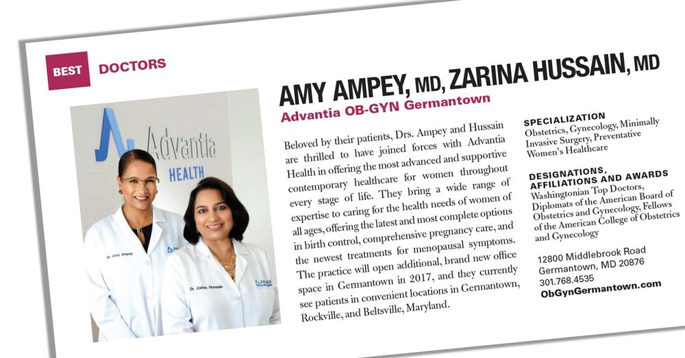 Congratulations to the 2016 Washingtonian Top Doctors! | Advantia OB ...
