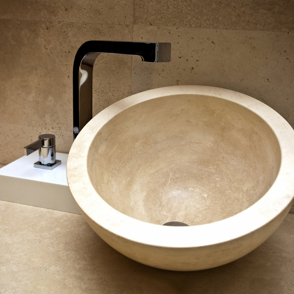 A stone bathroom basin