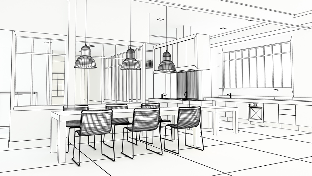 Architects drawing/plan for an open plan kitchen diner