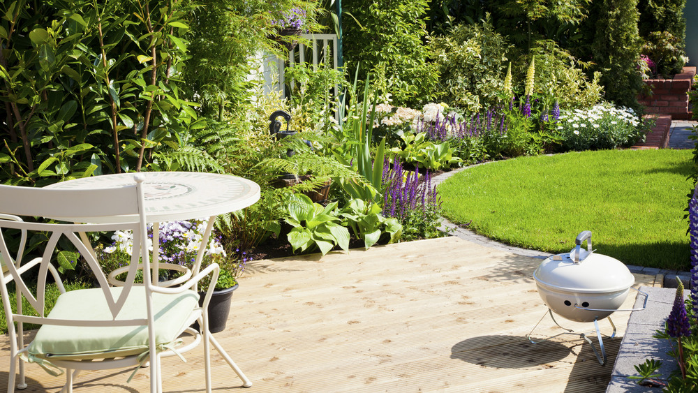 A sunny garden with decking