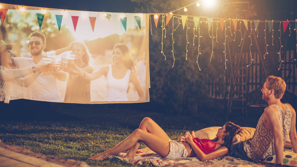 Outdoor cinema in garden