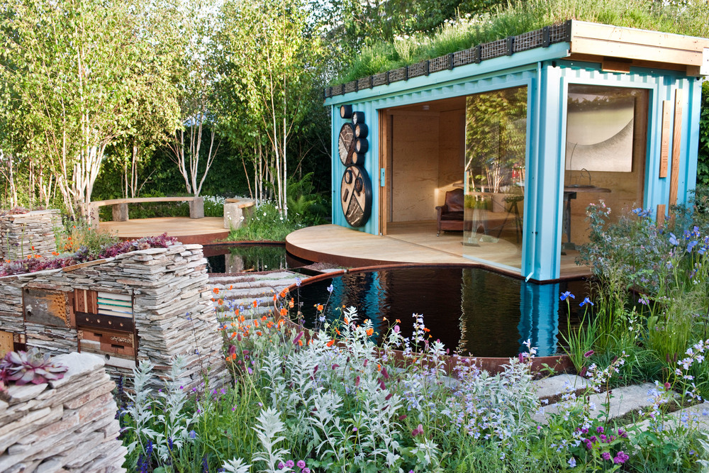 up-cycled shipping container summerhouse