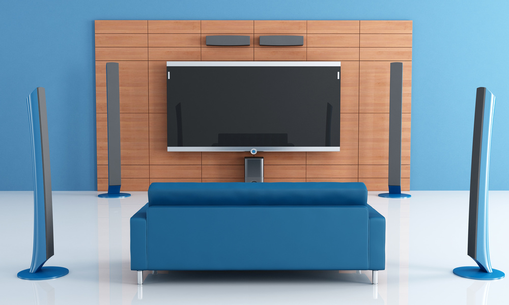 High-tech home cinema render