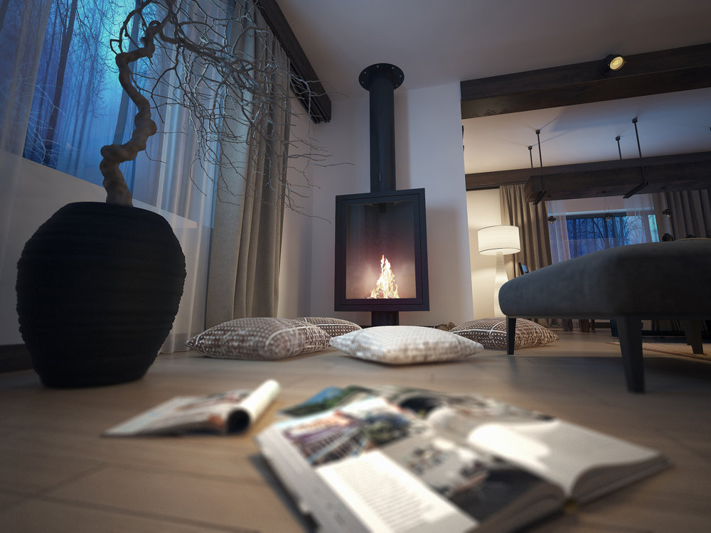 cosy tech-free zone with fireplace