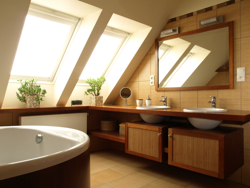 bathroom in loft with skylights
