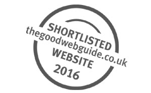 Shortlisted for the Good Web Guide's Website of the year 2016 sign
