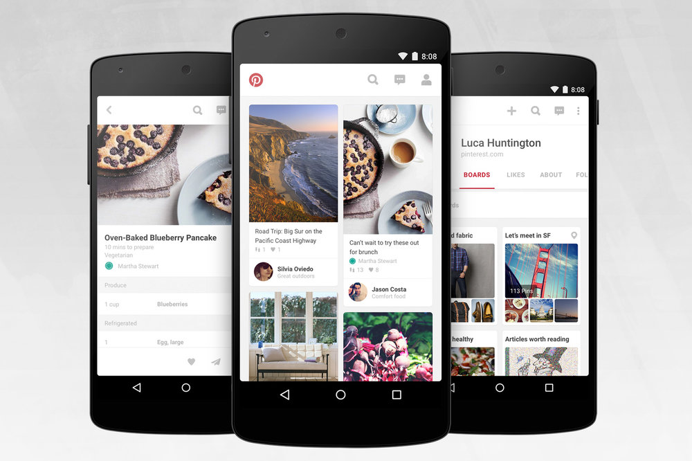 The Pinterest app open on a selection of smart phones.