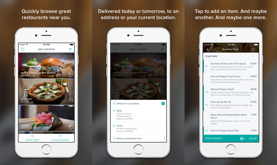 The Deliveroo app in use.