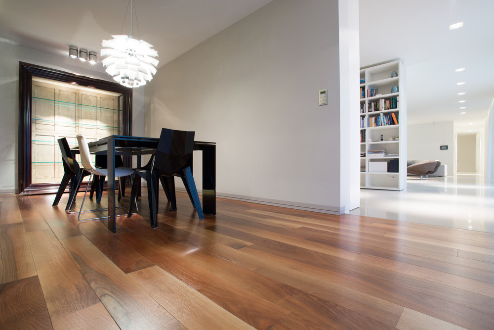 Hardwood flooring in a dining room.