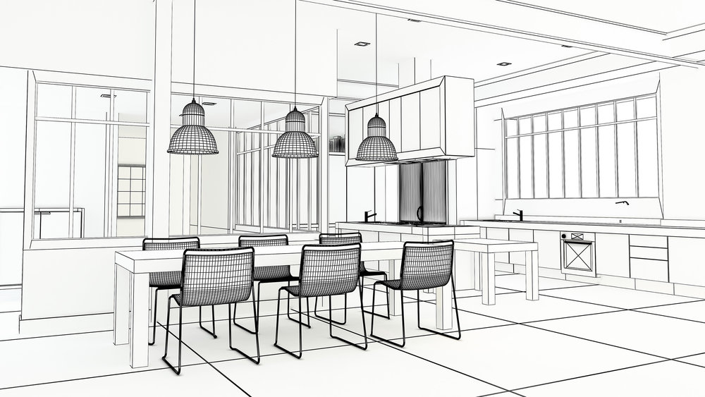 A designer's drawing of an open plan kitchen diner