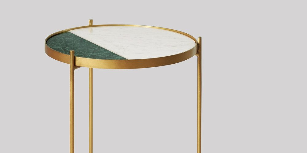 Swoon Editions -Aravali Side Table, Brass & Green Marble - £169. https://www.swooneditions.com