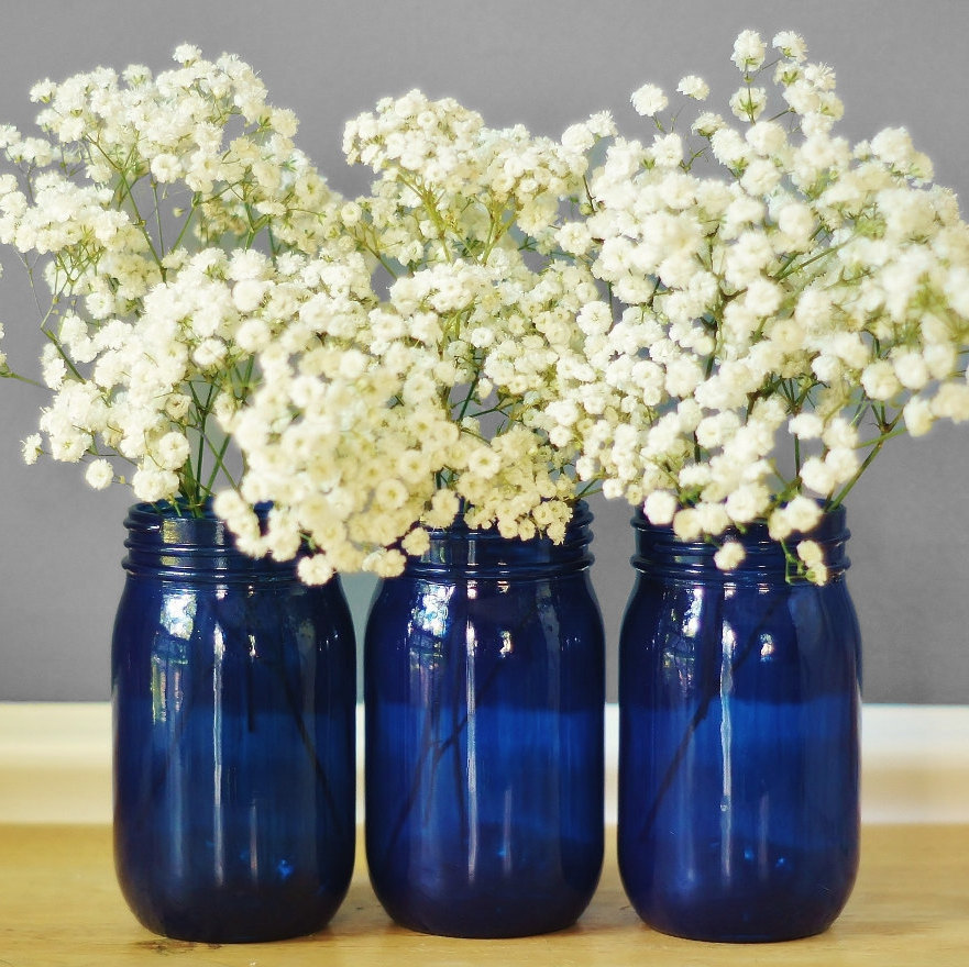 LITdecor. Set of Three Cobalt Blue Glass Mason Jar Vases. From £19.98 - https://www.etsy.com
