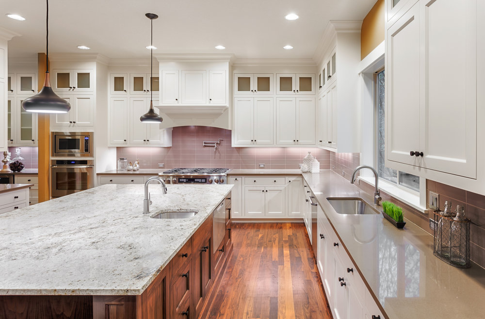 Marble-topped kitchen island