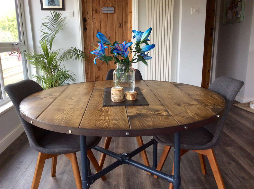 Round industrial style table, by TrendlessHandmade, £429 from Etsy.