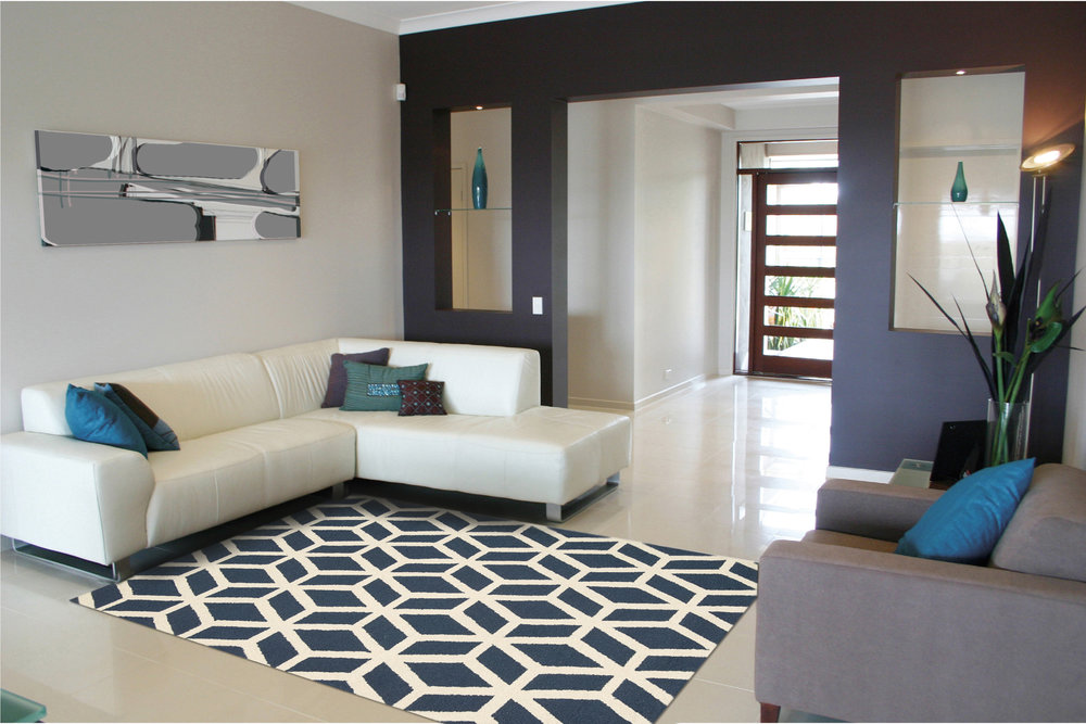 Product name:  Linear rugs lin01 in blue and ivory.  Price:  £149.00.  Stockist information:   www.therugseller.co.uk .