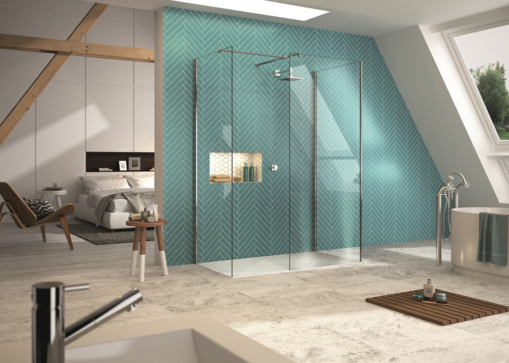 Image Credit: Merlyn Showering. Product Name: Three Sided Showerwall. Price: £1063.23. https://merlynshowering.com/