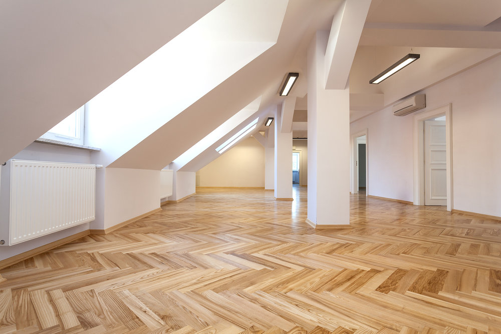 Hardwood flooring in loft
