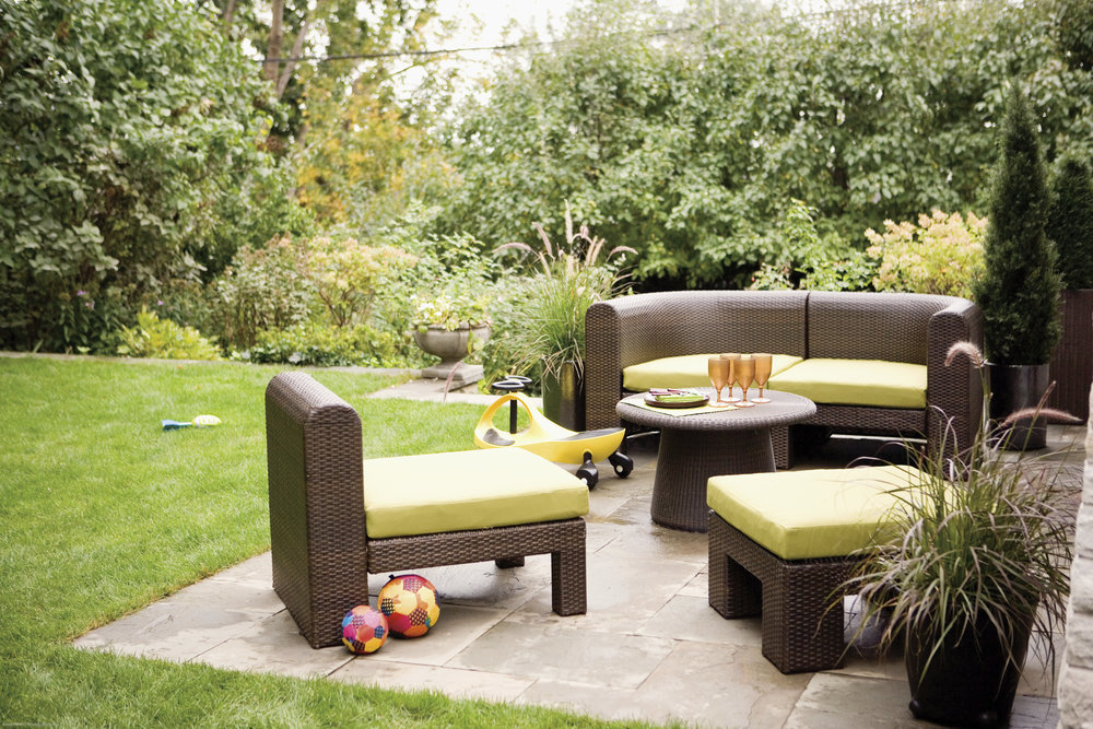 Wicker garden furniture on patio