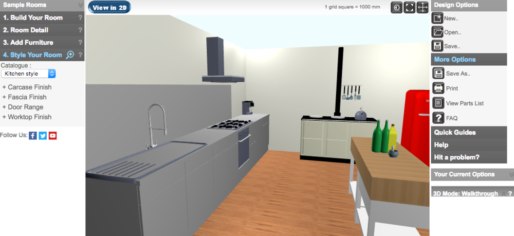 Opun home improvement - Transitional kitchen render in 3d mode on Opun Planner