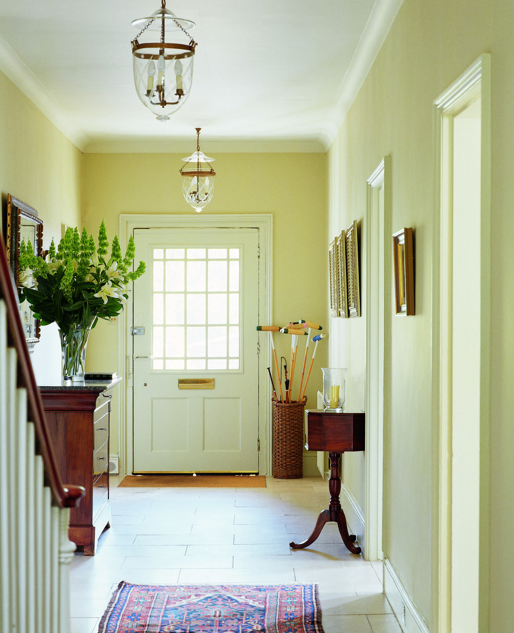 Image Credit:  Farrow & Ball .  Wall and Woodwork: String, No, 8, Estate Eggshell. Woodwork: Off-White, No, 3, Estate Eggshell