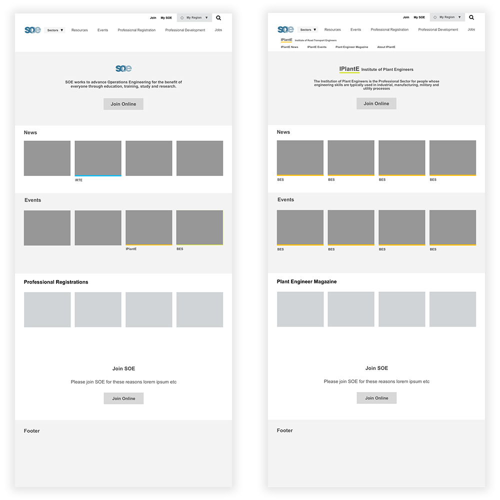 First iteration homepage wireframes for desktop view