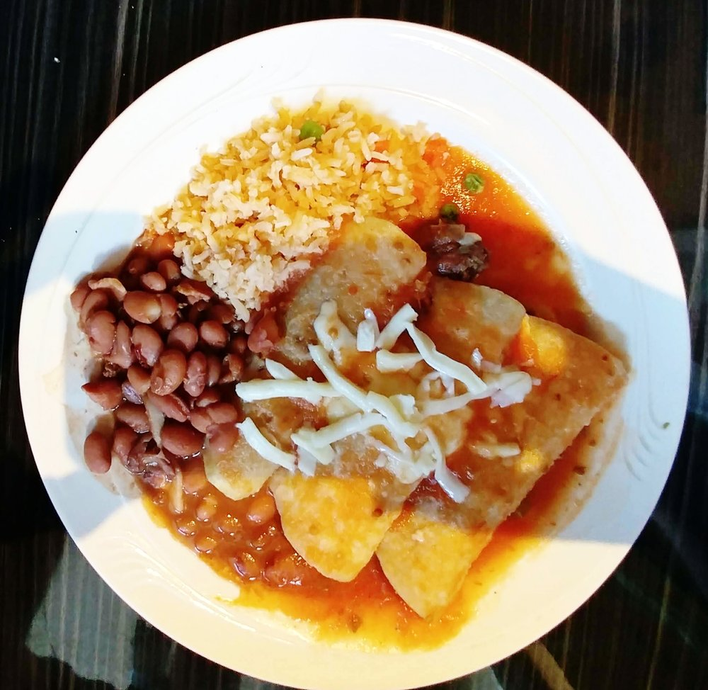 Beef Enchiladas - with salsa ranchera