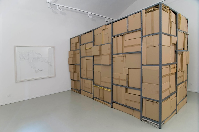 installation view with   Interstice   drawing from   Apparent Death   series