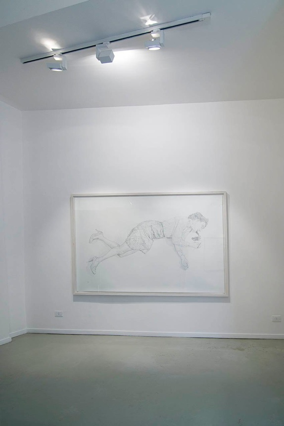 installation view, the drawing  Trace  from   Apparent Death   series