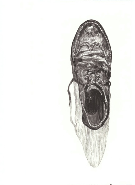 Shoe shadow 2011 Charcoal on paper. dimensions: 59.4*42 cm. private collection.