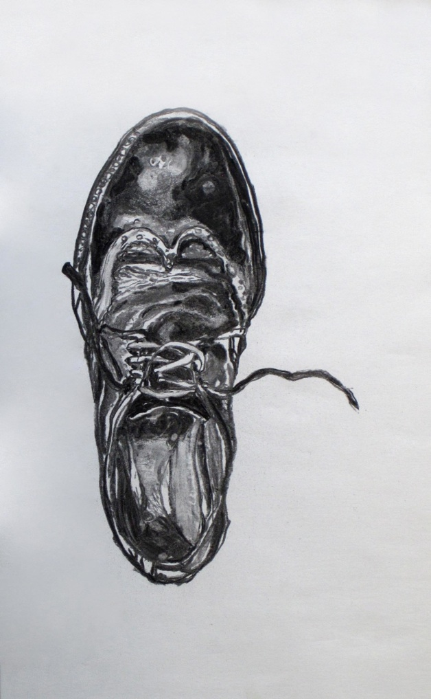 Shoe finding 2010 Charcoal on paper. dimensions: 40*42 cm