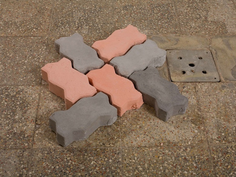 Concrete and Cement - Still Life (Ackerstein tiles). plaster and pigment, dimensions: 5.5*23*12 cm each.