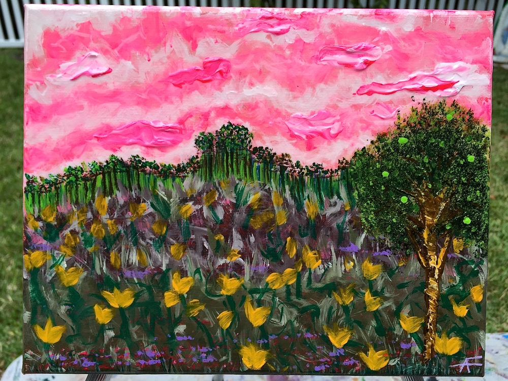 PINK SKIES, YELLOW FLOWERS