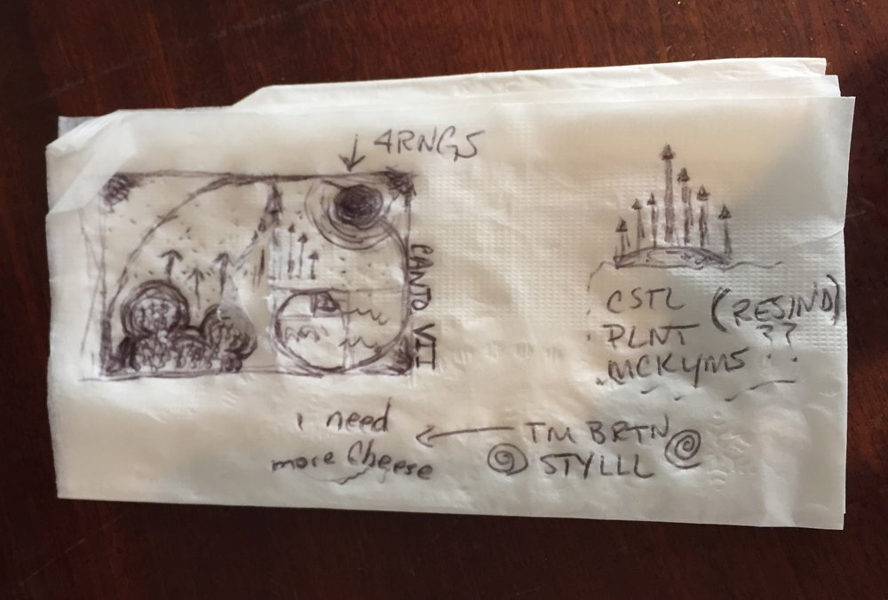 SK3: FINAL SKETCH & IDEAS… ON A NAPKIN. NOTICE THE DIFFERENCES FROM THE FINAL VERSION?