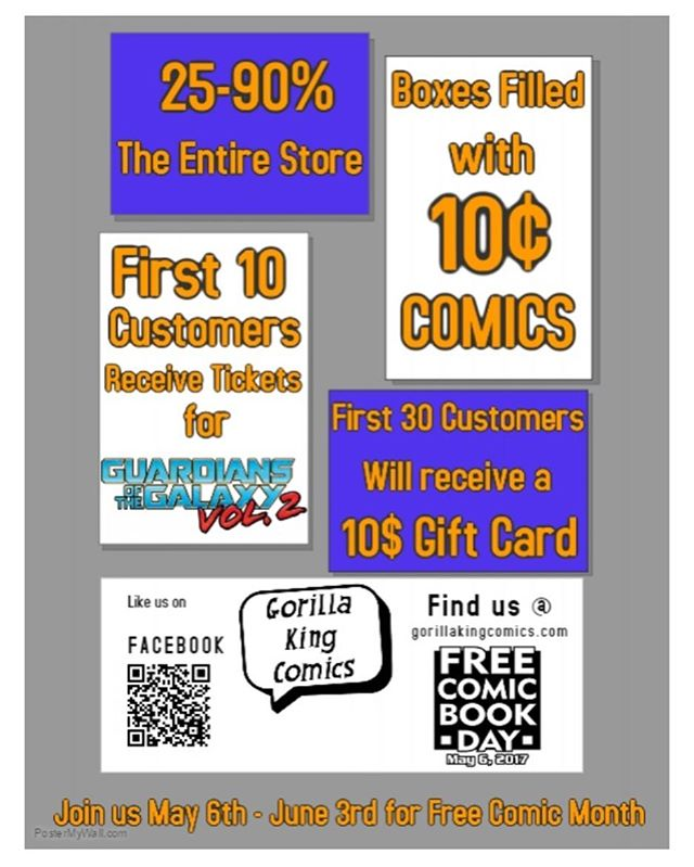 This Saturday!! Come out for free comic book day! Tons of sales and cool free stuff!